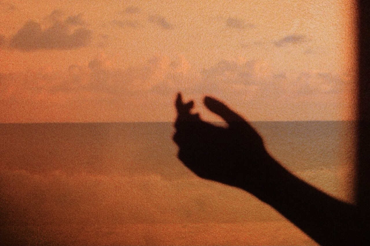 Silhouette of a hand in front of a beach